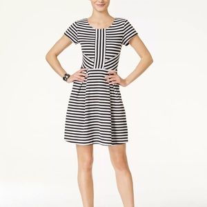 CeCe by Cynthia Steffe Striped Fit Flare Dress Med